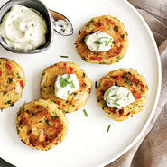 Mini Corn Bread Crab Cakes with Lemon-Caper Sauce