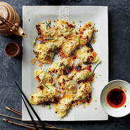 Pork and Chive Dumplings with Red Chile Oil