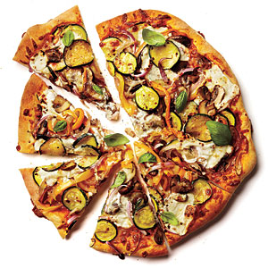 Roasted Vegetable and Ricotto Pizza