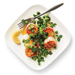Seared Scallops with Lemony Sweet Pea Relish Recipe