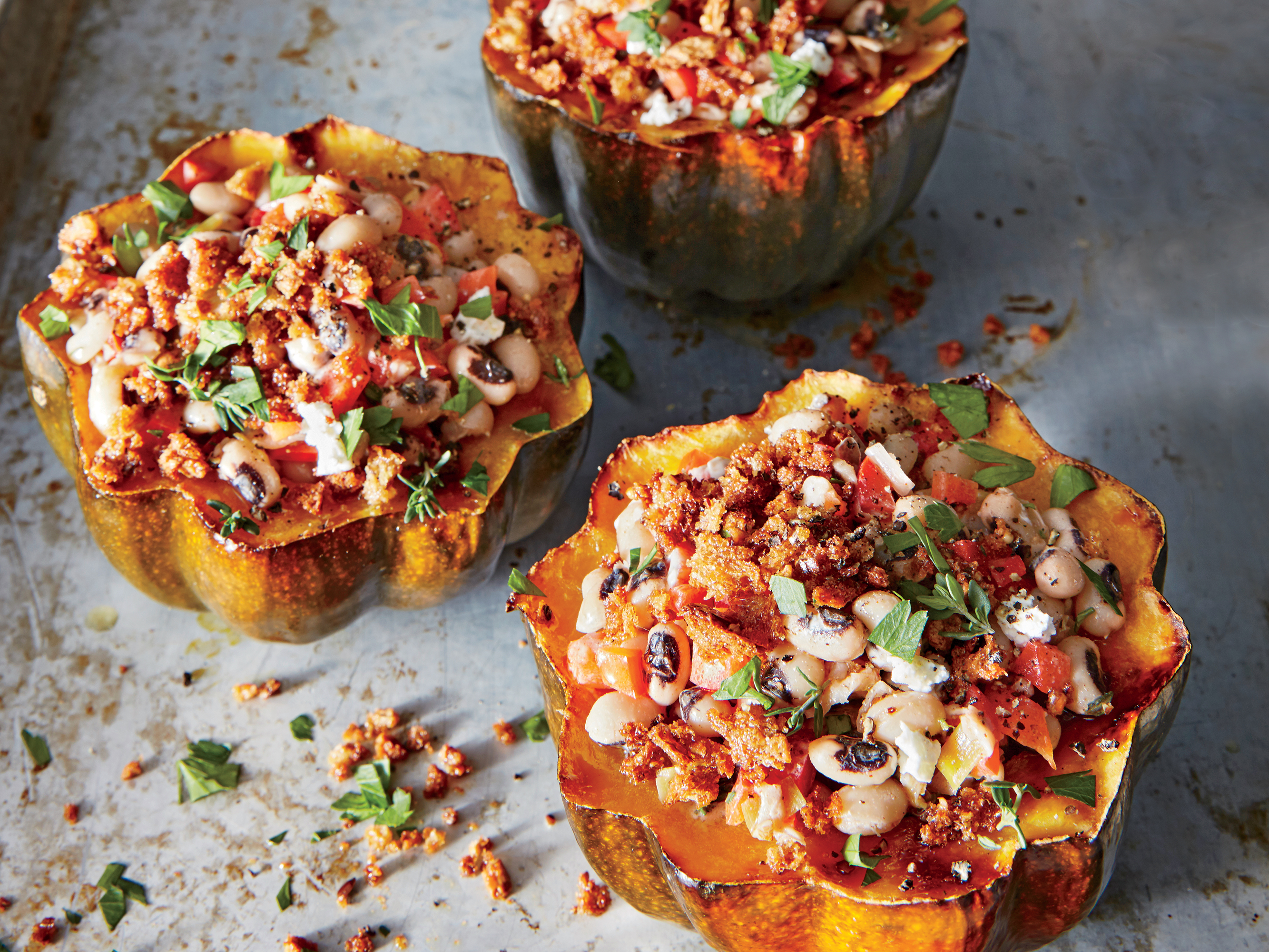 Black-Eyed-Pea-Stuffed Acorn Squash