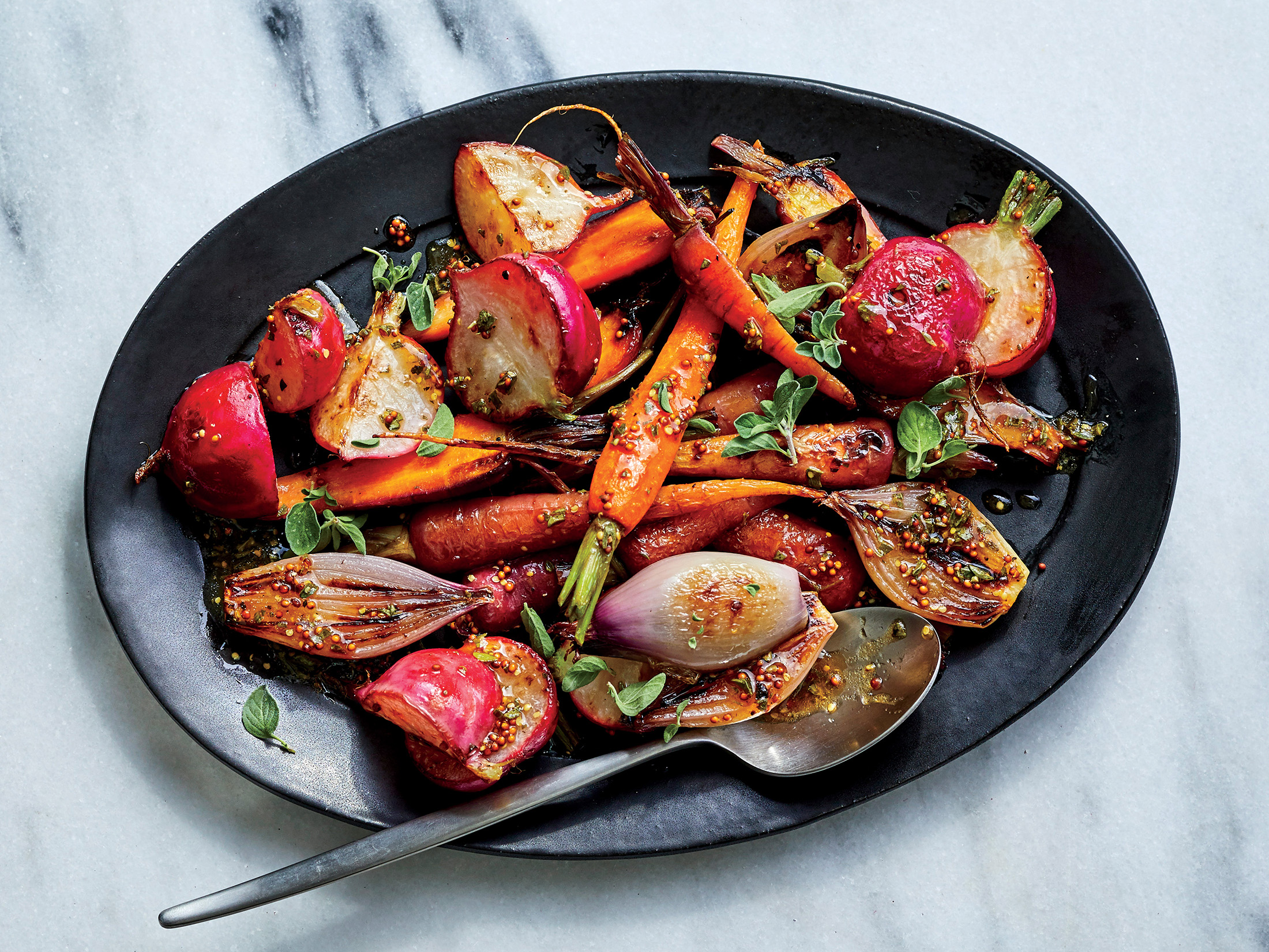 Roasted Spring Vegetables with Mustard-sherry Vinaigrette