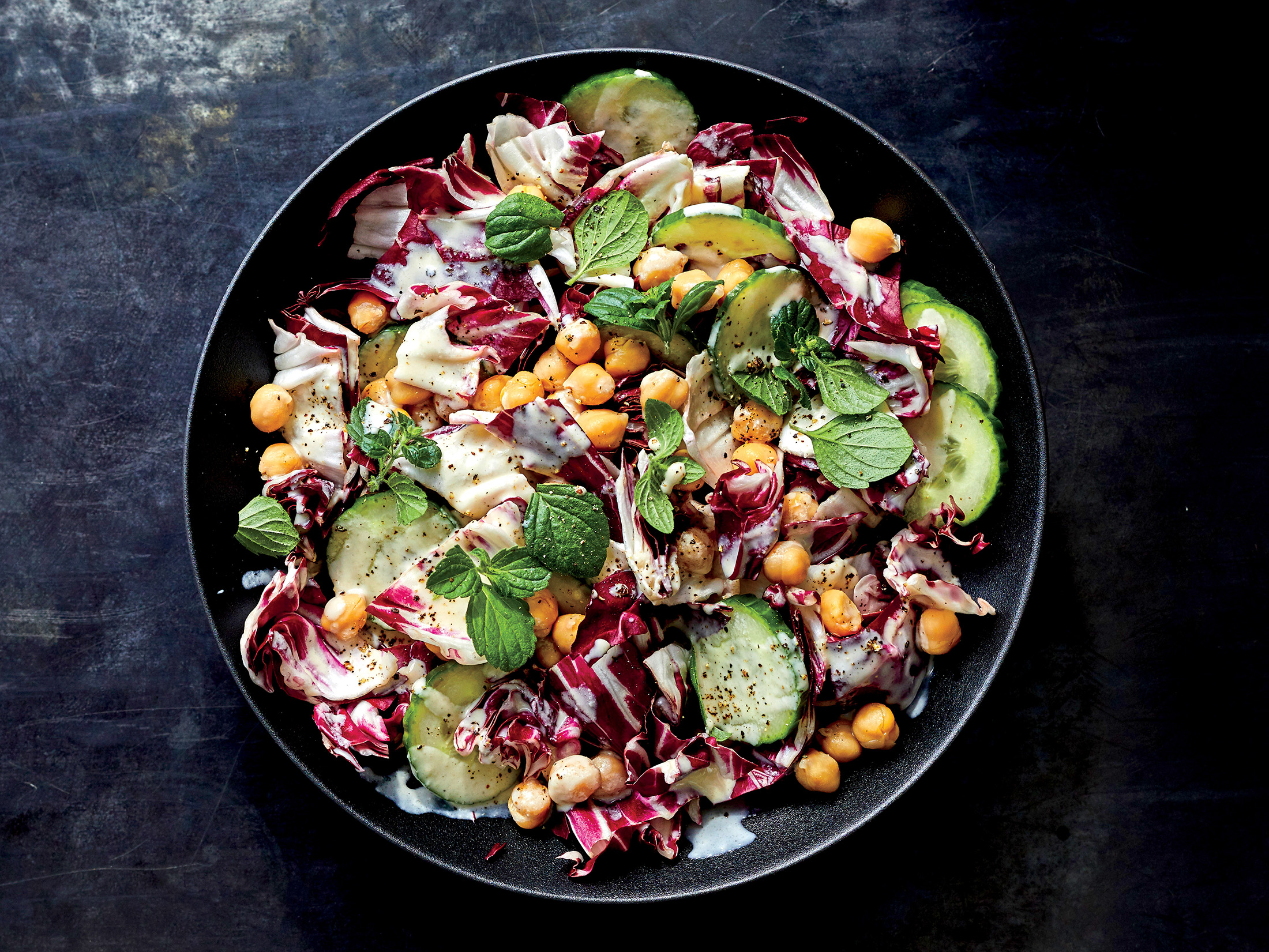 Radicchio and Chickpea Salad with Lemon-tahini Vinaigrette