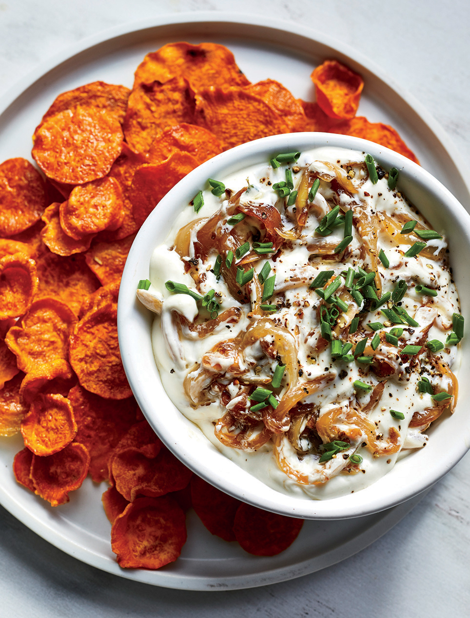 French Onion Dip with Sweet Potato Chips
