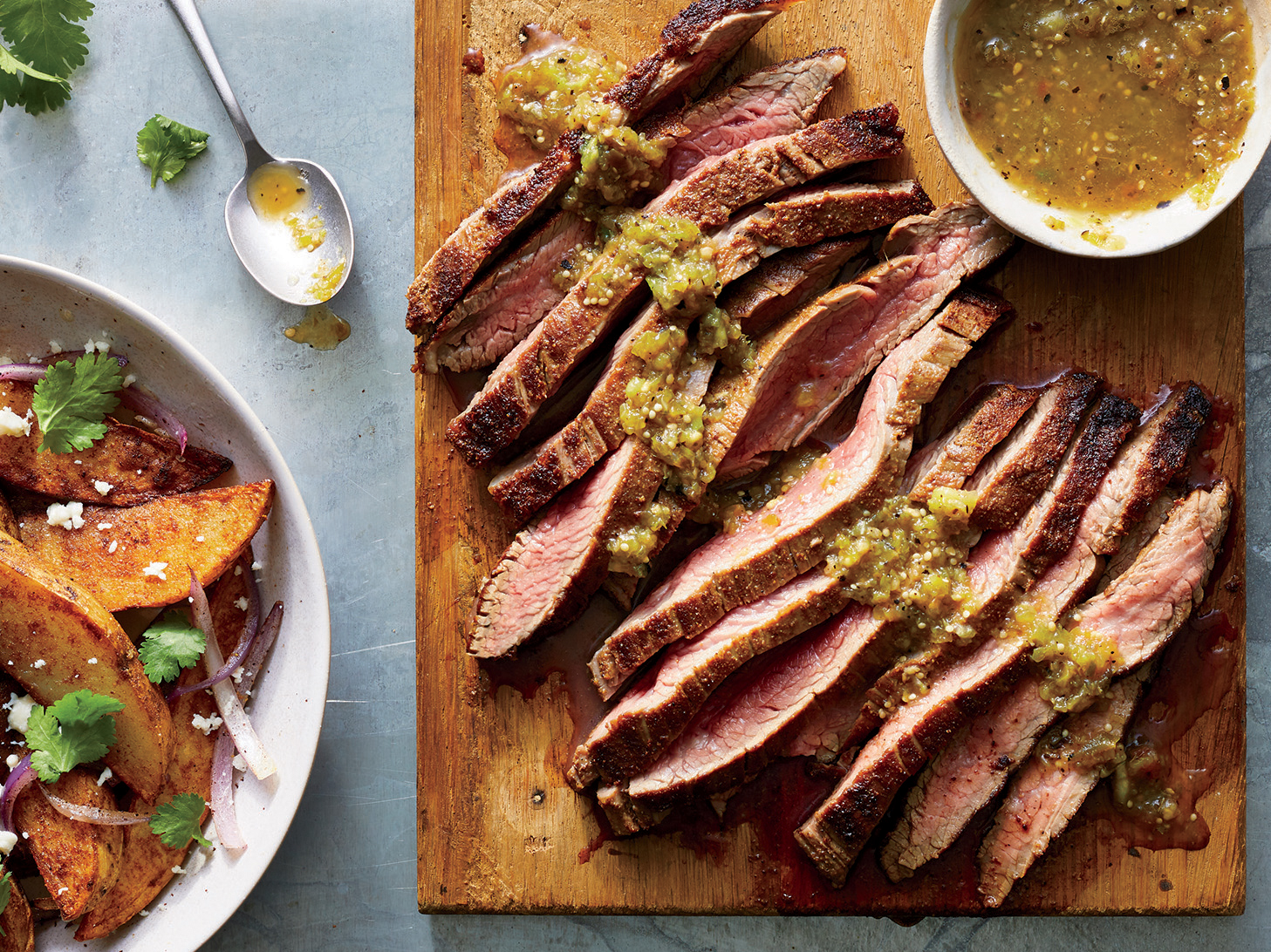 Spice-Crusted Flank Steak with Crispy Potatoes