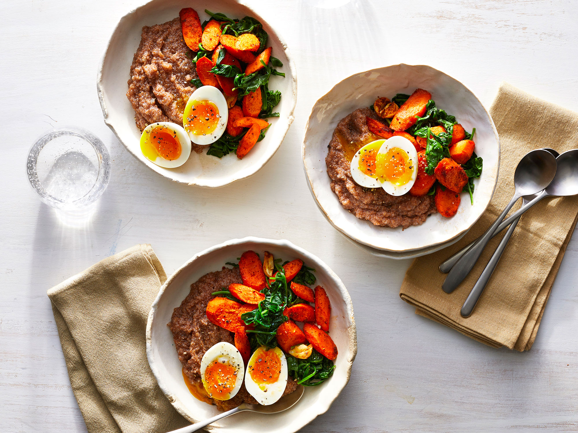 "Teff ""Polenta"" Bowls With Soft Eggs and Greens"