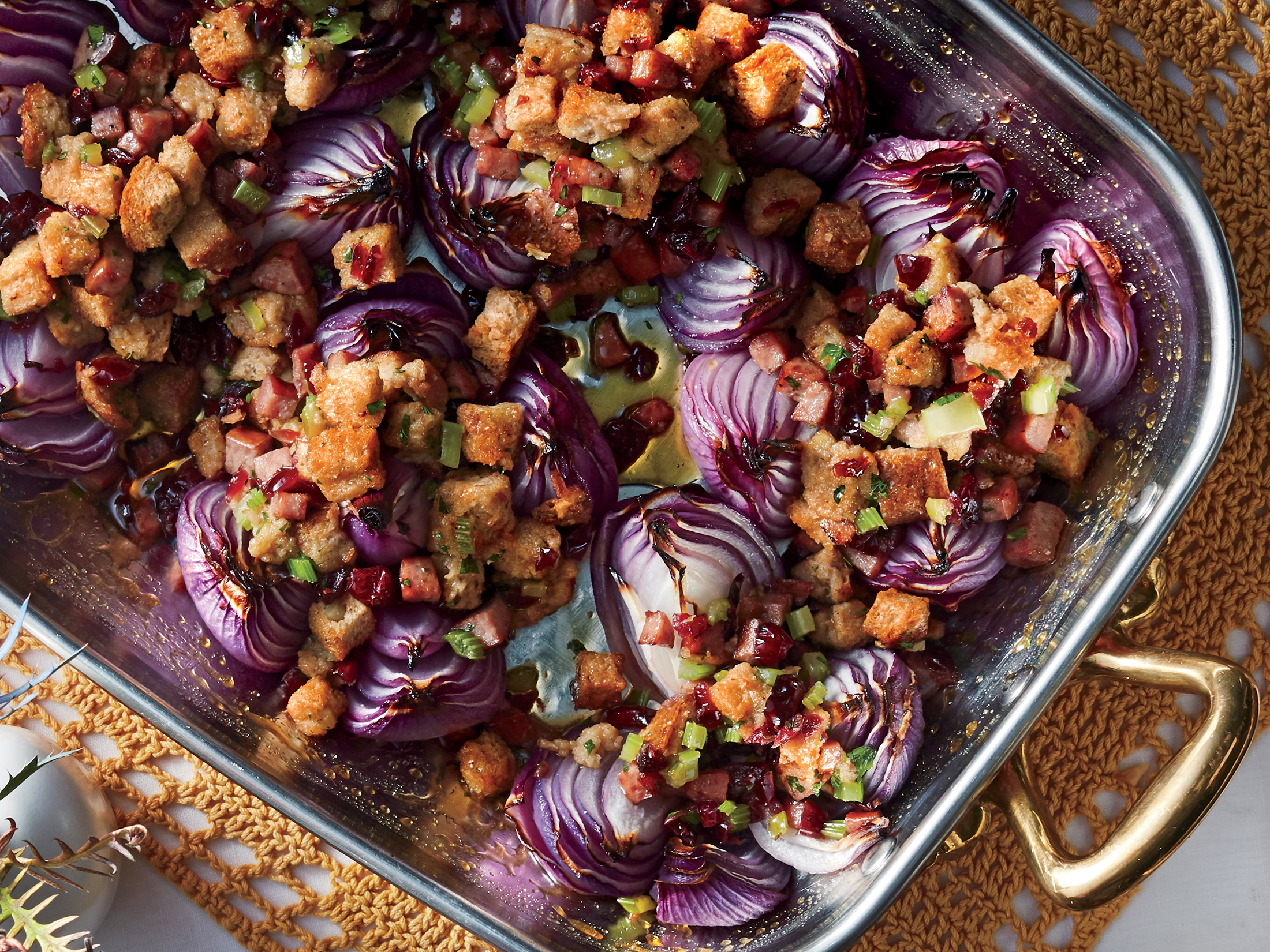 Sausage, Herb, and Cranberry–Stuffed Onions