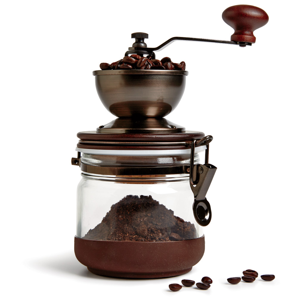 GET CRANKIN'Extract better flavor from your beans by grinding them just before brewing. Adjust the burr on Hario's hand-crank grinder to create coarse or fine grounds. $65, momastore.org