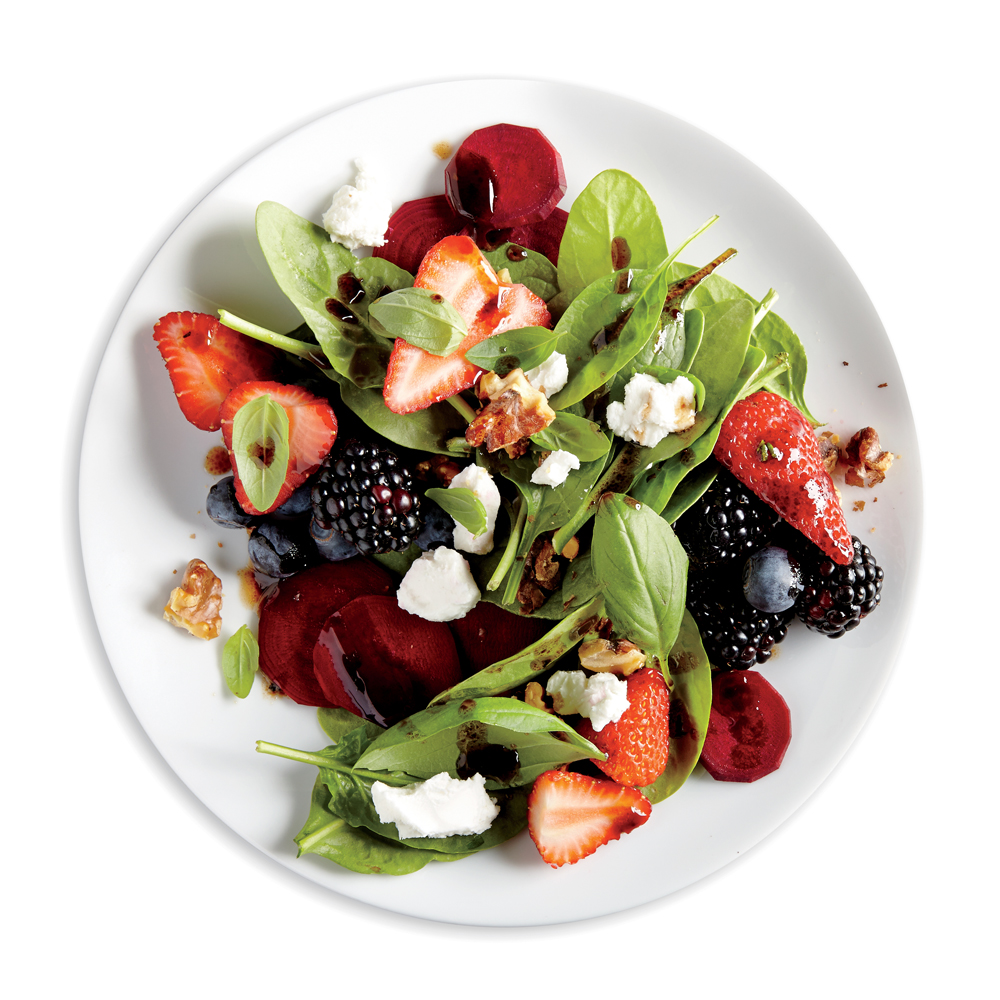 Balsamic, Beet, and Berry Salad with Balsamic Rosemary Vinaigrette