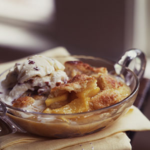 Coconut-Peach Cobbler with Bourbon-Pecan Ice Cream