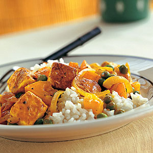 Tofu with Red Curry Paste, Peas, and Yellow Tomatoes - Recipes