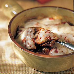 Baked Eggplant with Mushroom-and-Tomato Sauce