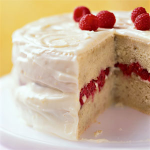 Banana-Raspberry Cake with Lemon Frosting Recipe