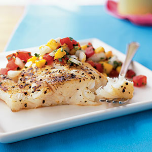 Grilled Halibut and Fresh Mango Salsa