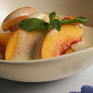 Fresh Peaches with Sabayon
