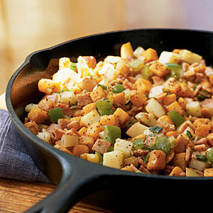 Healthy Sweet Potato and Canadian Bacon Hash Recipe