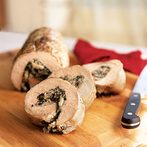 Pork Loin with Olivada, Spinach, and Rice Stuffing