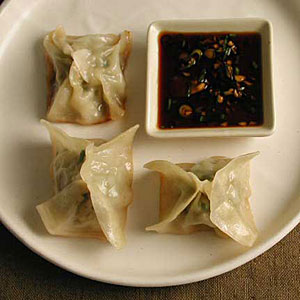 Chicken and Lemon Pot Stickers with Soy-Scallion Dipping Sauce