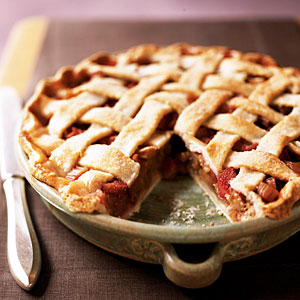 Lattice-Topped Rhubarb Pie