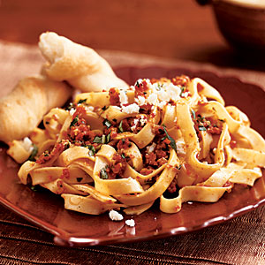 Pasta with Sun-Dried Tomato Pesto and Feta Cheese