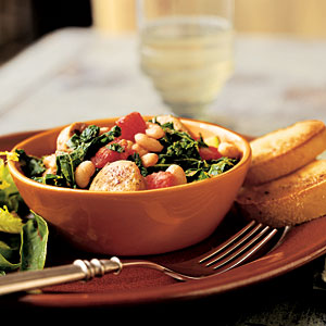 Healthy White Bean and Sausage Ragout with Tomatoes Kale and Zucchini Recipe
