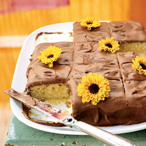 Yellow Sheet Cake with Chocolate Frosting Birthday Recipe