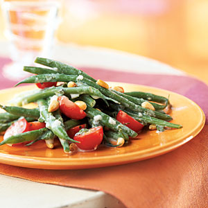 Haricots Verts and Grape Tomato Salad with Creme Fraiche Dressing
