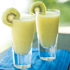 Tropical coconut and pineapple combine with melon liqueur and the subtle flavor of kiwi in this blended iced cocktail.