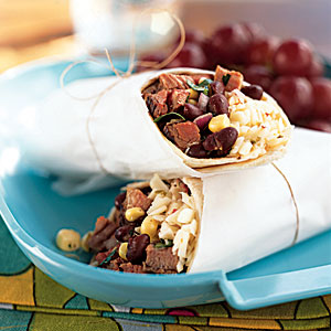 Southwestern Steak, Corn and Black Bean Wraps recipe
