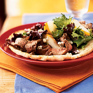 Open-Faced Steak, Pear, and Gorgonzola Sandwiches