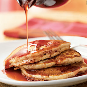 Buttermilk-Banana Pancakes with Pomegranate Syrup