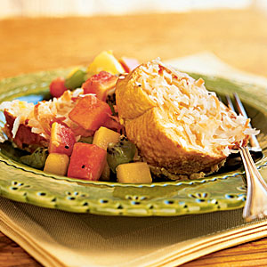 Baked Coconut French Toast with Tropical Fruit Compote Recipe