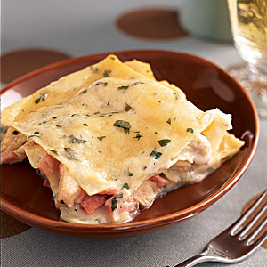 This chicken-ham lasagna is a lightened version of Courtney Sparks' favorite dish.
