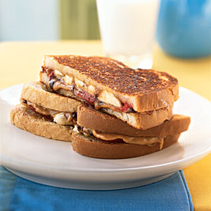 Grilled Peanut Butter and Banana Split Sandwiches