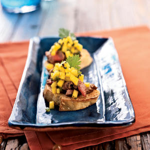 Beef Tenderloin Bruschetta with Brown Butter