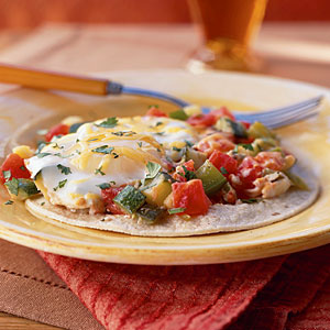 Huevos Rancheros with Zucchini and Green Pepper