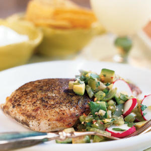 Seared Chicken with Tomatillo-Avocado Salsa