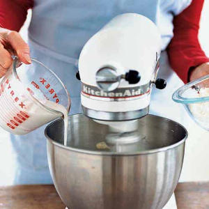 Add flour and milk (or buttermilk) alternately to cake batter. Always begin and end with the flour mixture, and the ingredients will blend evenly and thoroughly.