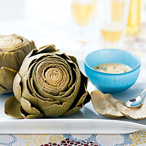 Artichokes with Roasted Garlic-Wine Dip