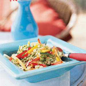 The cornucopia of vegetables in this slaw give it a rainbow of colors and an array of textures and flavors.