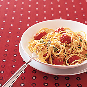 Cherry Tomato Spaghetti with Toasted Pine Nuts