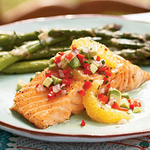 Cedar Plank-Grilled Salmon with Avocado-Orange Salsa