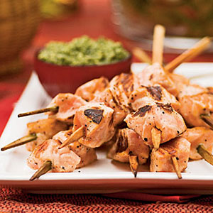 Salmon Skewers with Lemon-Parsley Pesto