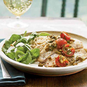 Roasted Tilapia with Tomatoes and Olives
