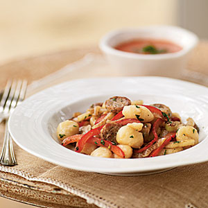 Gnocchi with Chicken Sausage, Bell Pepper, and Fennel