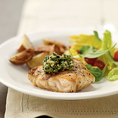Grilled grouper with basil lime pistou superfast fish for Grouper fish recipes