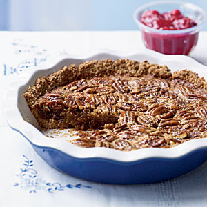 Oat-Crusted Pecan Pie with Fresh Cranberry Sauce