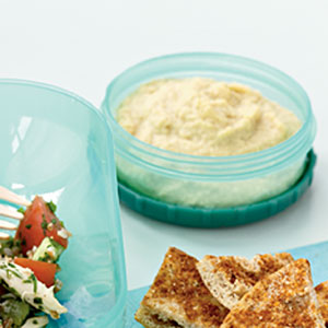 Quick and Healthy Lemony Hummus with Spicy Whole-Wheat Pita Chips Recipe