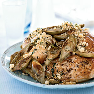 Oven-Roasted Chicken Breasts with Artichokes and Toasted Breadcrumbs