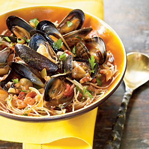 Spain: Fideos with Chorizo and Mussels